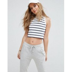 Abercrombie & Fitch  Cropped High Neck Stripe Top